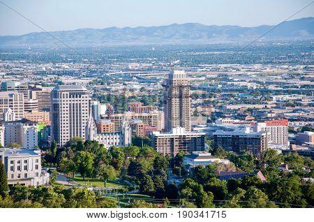 The beautiful city skyline of Salt Lake City Utah
