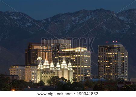 City Skyline of Salt Lake City Utah at night.