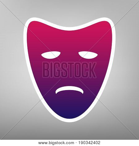 Tragedy theatrical masks. Vector. Purple gradient icon on white paper at gray background.