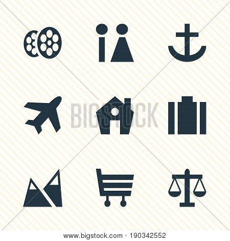 Vector Illustration Of 9 Check-In Icons. Editable Pack Of Landscape, Anchor, Home Elements.