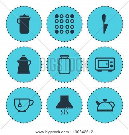 Vector Illustration Of 9 Cooking Icons. Editable Pack Of Tea, Extractor Appliance, Can And Other Elements.