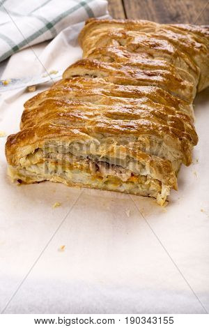 Fish pie. Two types of fish (salmon and cod) in puff pastry.