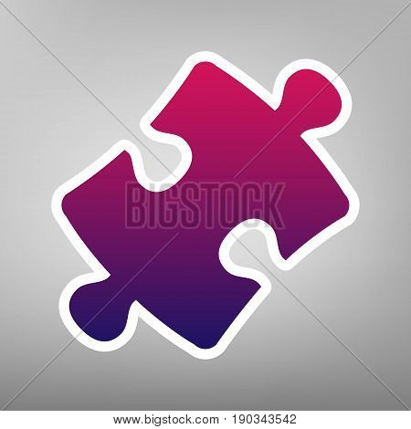 Puzzle piece sign. Vector. Purple gradient icon on white paper at gray background.
