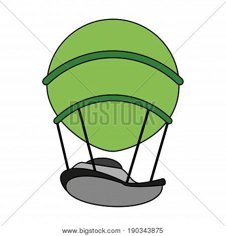 green hot ait balloon over white background vector illustration design