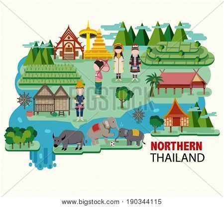 Northern Thailand travel with the flat style illustration vector