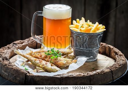 Homemade Smelt Fish With Chips And Cold Beer