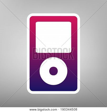 Portable music device. Vector. Purple gradient icon on white paper at gray background.
