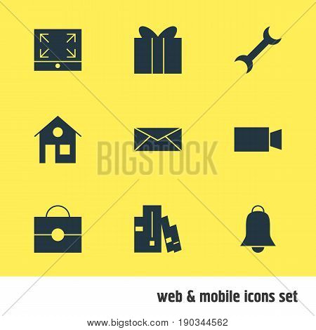 Vector Illustration Of 9 Online Icons. Editable Pack Of Gift, Letter, House And Other Elements.