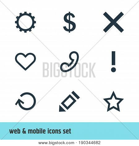 Vector Illustration Of 9 User Icons. Editable Pack Of Cogwheel, Renovate, Handset Elements.