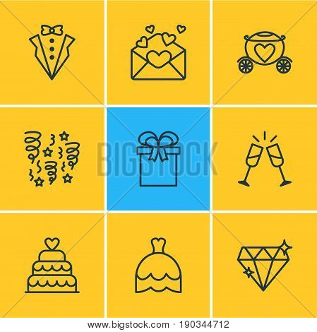 Vector Illustration Of 9 Wedding Icons. Editable Pack Of Brilliant, Decoration, Wedding Gown And Other Elements.
