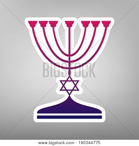 Jewish Menorah candlestick in black silhouette. Vector. Purple gradient icon on white paper at gray background.