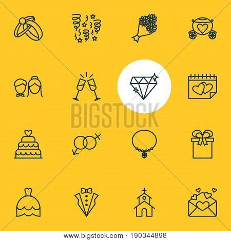Vector Illustration Of 16 Marriage Icons. Editable Pack Of Present, Calendar, Wedding Gown And Other Elements.