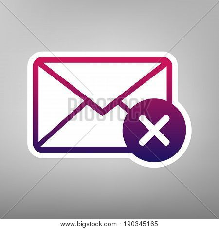 Mail sign illustration with cancel mark. Vector. Purple gradient icon on white paper at gray background.