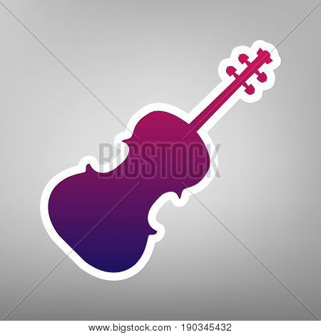 Violin sign illustration. Vector. Purple gradient icon on white paper at gray background.
