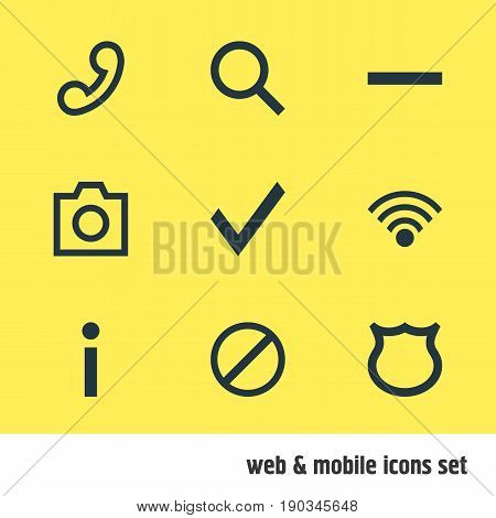 Vector Illustration Of 9 Interface Icons. Editable Pack Of Access Denied, Shield, Minus And Other Elements.