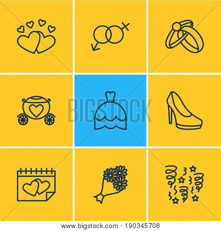 Vector Illustration Of 9 Engagement Icons. Editable Pack Of Chariot, Calendar, Engagement And Other Elements.