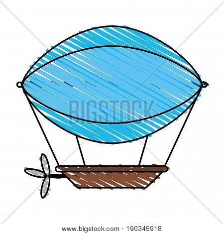 Blue dirigible doodle over white background vector illustration design