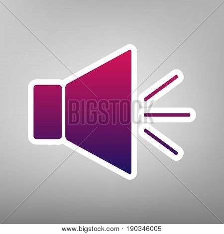 Sound sign illustration with mute mark. Vector. Purple gradient icon on white paper at gray background.