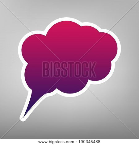 Speach bubble sign illustration. Vector. Purple gradient icon on white paper at gray background.