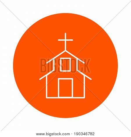 Religious construction with a Christian cross on the roof vector round monochrome icon flat style.