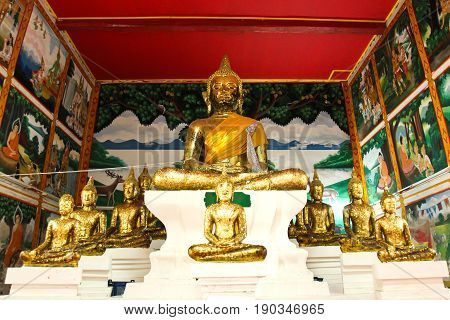 Buddha statue beautiful in the church of Wat Saraphi Temple at Suphanburi Thailand.