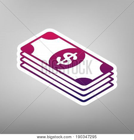 Bank Note dollar sign. Vector. Purple gradient icon on white paper at gray background.
