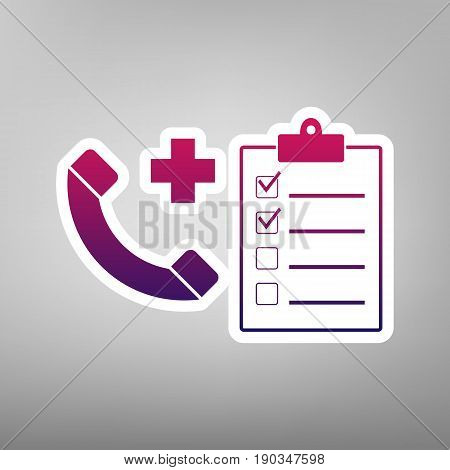 Medical consultation sign. Vector. Purple gradient icon on white paper at gray background.