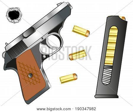 Weapon gun and cartridge clip with patron on white background