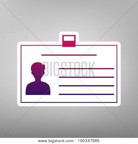 Identification card sign. Vector. Purple gradient icon on white paper at gray background.