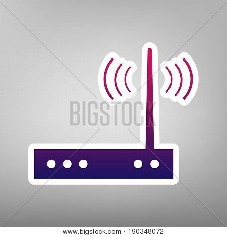 Wifi modem sign. Vector. Purple gradient icon on white paper at gray background.