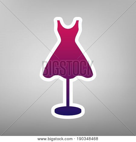 Mannequin with dress sign. Vector. Purple gradient icon on white paper at gray background.