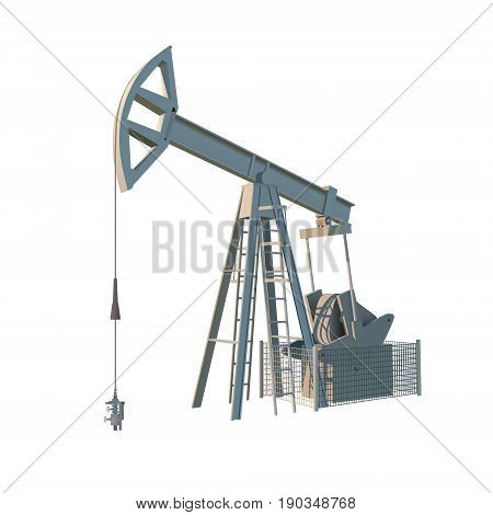 Petroleum rig. Oil drill isolated on white background. Vector image.
