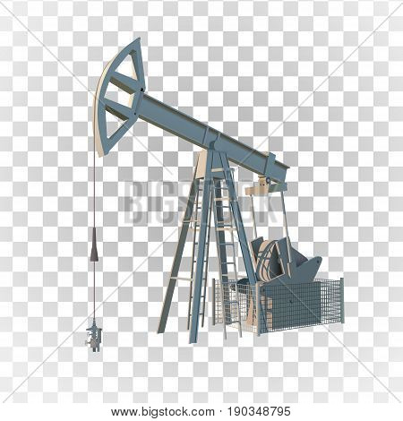Petroleum rig. Oil drill isolated on transparent background. Vector image.