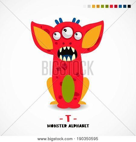 Monster alphabet. Letter T. A strange animal. Vector illustration on white background. Great children's print. The concept of a kid's toy