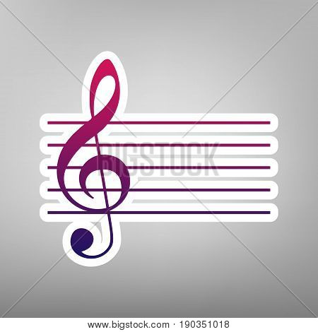 Music violin clef sign. G-clef. Vector. Purple gradient icon on white paper at gray background.