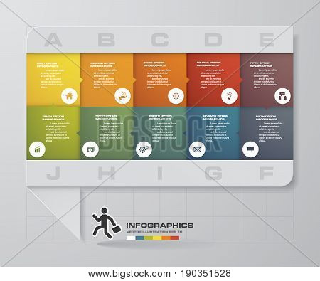 abstract business chart. 10 Steps diagram template/graphic or website layout. Vector. Step by step idea.