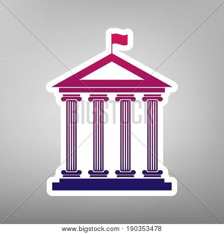 Historical building with flag. Vector. Purple gradient icon on white paper at gray background.