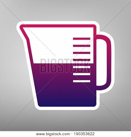 Beaker sign. Vector. Purple gradient icon on white paper at gray background.