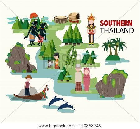 Southern Thailand travel with their culture and identity all in flat style illustration vector