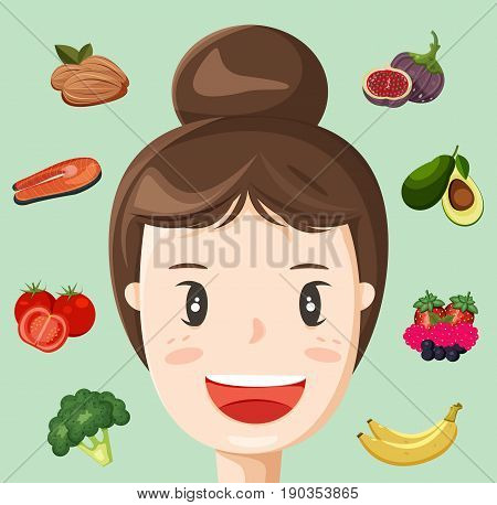 Anti-aging foods with young woman face illustration vector