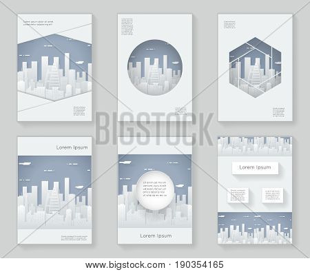 Paper Silhouette Urban Landscape City Real Estate over design template abstract design decorative pattern frame ornament 3d book brochure booklet background vector illustration