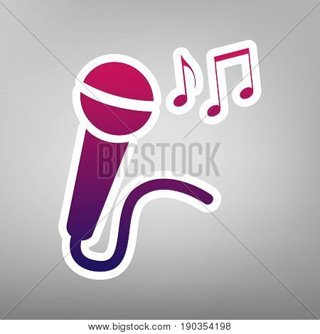 Microphone sign with music notes. Vector. Purple gradient icon on white paper at gray background.
