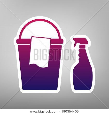 Bucket and a rag with Household chemical bottles. Vector. Purple gradient icon on white paper at gray background.