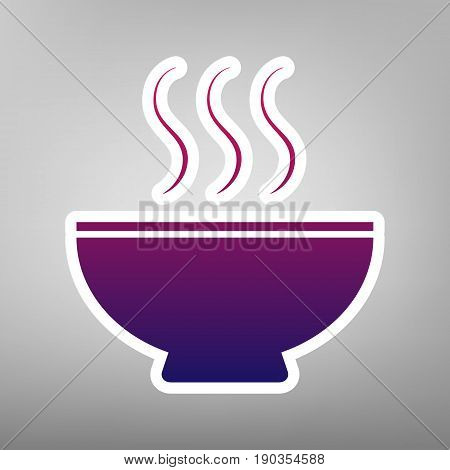 Soup sign. Vector. Purple gradient icon on white paper at gray background.