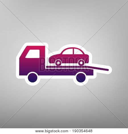 Tow car evacuation sign. Vector. Purple gradient icon on white paper at gray background.