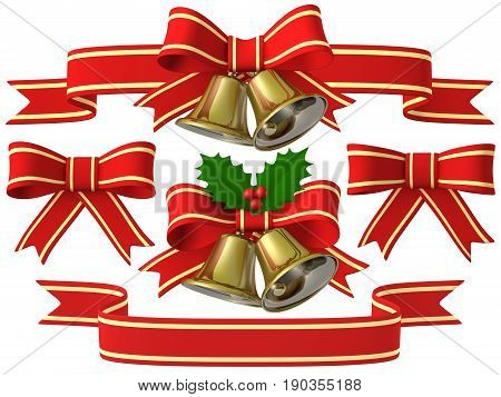 Merry Christmas bell ribbon holly, 3D illustration Christmas bell ribbon set