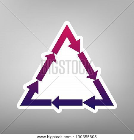 Plastic recycling symbol PVC 3 , Plastic recycling code PVC 3. Vector. Purple gradient icon on white paper at gray background.