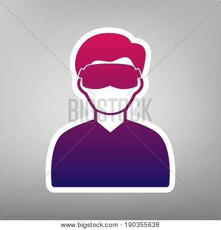 Man with sleeping mask sign. Vector. Purple gradient icon on white paper at gray background.