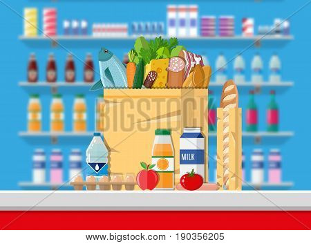 Supermarket interior. Cashier counter workplace. Food and drinks. Shelves with products. Vector illustration in flat style