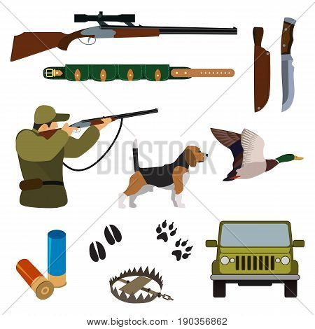 Flat hunting set. Isolated colored objects on white background. Vector illustration.